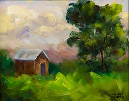 country landscape painting shack impressionism landscape art by texas artist lunell gilley