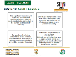 South africa moves to lockdown level 2. South African Government Twitter Da Cabinet Statement The Move From Alert Level 3 To Alert Level 2 Of The National Lockdown With Effect From 18 August 2020 Has Resulted In The Welcome Relaxation