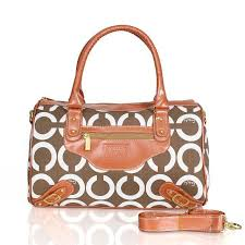 Coach Logo In Monogram Medium Brown Luggage Bags CEF