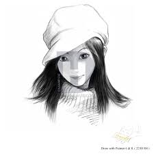 Simple Girl Face Drawing By Kawaiiyuki Drawinghub