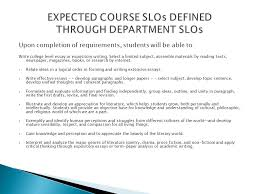 slo assessment presentation to be successful in the areas  upon completion of requirements students will be able to write college level essay or