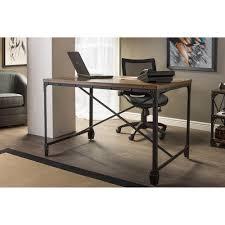 wooden desks for home office. Baxton Studio Greyson Vintage Industrial Antique Bronze Home Office Wood Desk YLX-4055 Wooden Desks For G