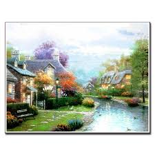 modern wall painting terranean village scenery canvas print oil painting wall art top home decoration