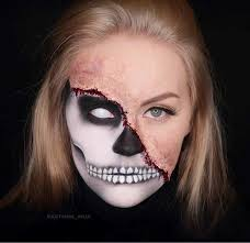 scary burned half face skeleton makeup for