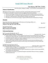 Mft Intern Resume Examples 3