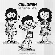 Set Di Tre Bambini Disegnati A Mano Scaricare Vettori Gratis