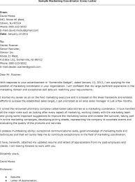 Cover Letter Example Marketing Coordinator Marketing Coordinator