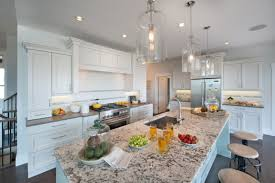 rustic glass pendant lights on low ceiling for modern kitchen
