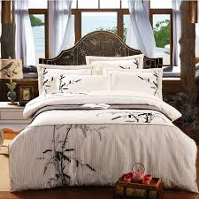 household textile minimalist classic white bamboo printed flounced embroidery cotton bedding kit 4pcs duvet cover set ht004 in bedding sets from home