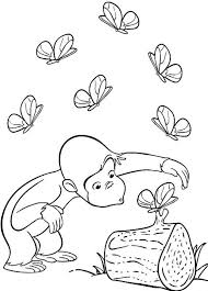 Cartoon Coloring Butterflies And Curious George