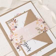 rose bohemian watercolour fl wedding invitation