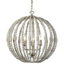 laura 6 light white washed chandelier
