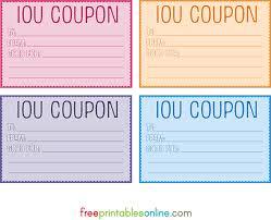 Free Printable Iou Forms Colorful Free Printable Iou Coupons Free Printables Online