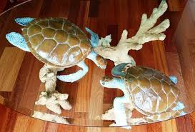 robert wyland turtle reef bronze coffee table