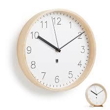 clock in natural wood rimwood by umbra