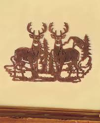 metal cut deer silhouette wall art wildlife cabin lodge rustic home decor