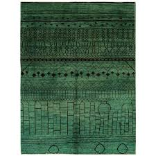 21st century modern green black moroccan rug for