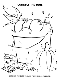 Dot To Dot Coloring Activity Pages Kids Apples Corn Pumpkin