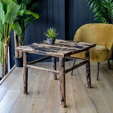 square elm antique coffee table black
