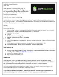 Cover Letter For Public Health Internship Health Movement Internship Byu Public Health