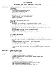 Document Processor Resume Samples Velvet Jobs