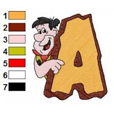 Flintstones Embroidery Designs Alphabets A With The Flintstones Embroidery Design
