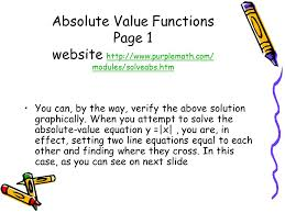 absolute value functions page 1 website purplemath com