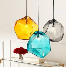 colorful pendant lighting. Crystal Glass Lighting Ice Cube Pendant Lamp Polygon Stone Colorful Light Creative Design-in Lights From \u0026 On I