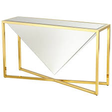 cyan design titan console table in brass and clear glass with