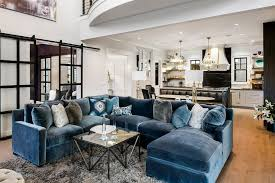blue velvet sectional with chaise lounge contemporary throughout plans 1