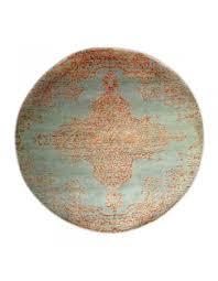 sea medallion round wool area rug