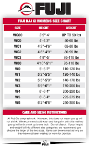 Fuji Judo Size Chart Bjj Kimono Size Chart Bjj Uniform Size