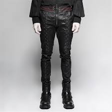 steampunk winter men stretch tight leather pants black long trousers gothic vintage street wear stright boot cut pants