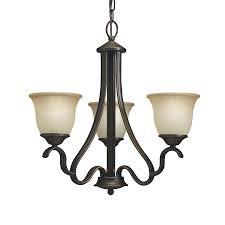 portfolio llana 21 25 in 3 light black bronze craftsman etched glass shaded chandelier