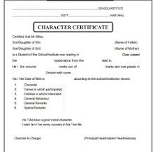 Format For Character Certificate For Students Character Certificate Format For School Student Barca