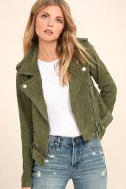 big blank nyc backhanded suede leather moto jacket 78ia126 women s olive green tops size
