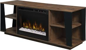 arlo walnut media console electric fireplace with glass ember bed main image