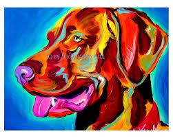 dawgart colorful pet portrait viszla dog art print 16x20 by alicia vannoy call 35 00