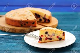 Simple Homemade Cake With Forest Berries Closeup Stock Photo