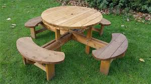 top 68 exemplary round plastic picnic table octagon wood tables home depot with detached benches bench amish kit plans wooden and set umbrella hole modern