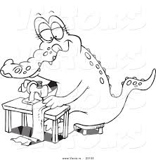 Small Picture Vector of a Cartoon Sewing Alligator Coloring Page Outline by
