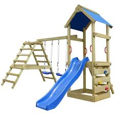 2 of 7 childrens wooden playhouse set outdoor climbing frame ladder slide swing sandpit