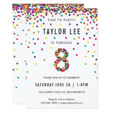 8th Birthday Party Invitations 8 Year Old Birthday Invitations Zazzle