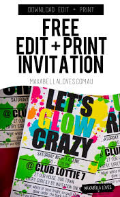 free 13th birthday invitations free glow party invitation download edit and print free
