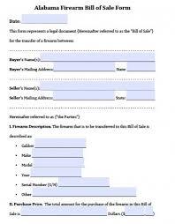 Free Alabama Gun/firearm Bill Of Sale Form | Pdf | Word (.doc)