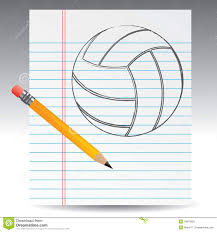 volleyball drawn on paper pencil stock vector illustration  volleyball drawn on paper pencil