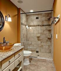 Bathroom : Remodeling Small Bathroom With Brown Plaid Wall Also White  Vanity Cabinet With Drawer Also Bowl Shaped Brown Glass Sink And Dorrless  Walk In ...