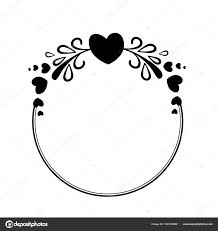 hearts silhouette elegant black and white round frame with a silhouette of hearts and