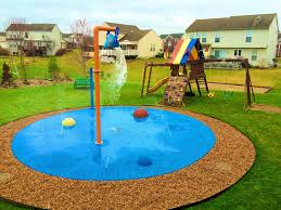 my splash pad caledonia michigan mi residential home backyard splashpad water park flower shower single bucket