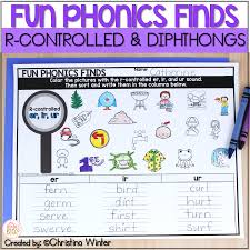 A list of many words with the 'er/ir/ur' sounds, plus several sentences to practice reading these words in context. R Controlled Vowel Diphthong Phonemic Awareness Phonics Activities Mrs Winter S Bliss